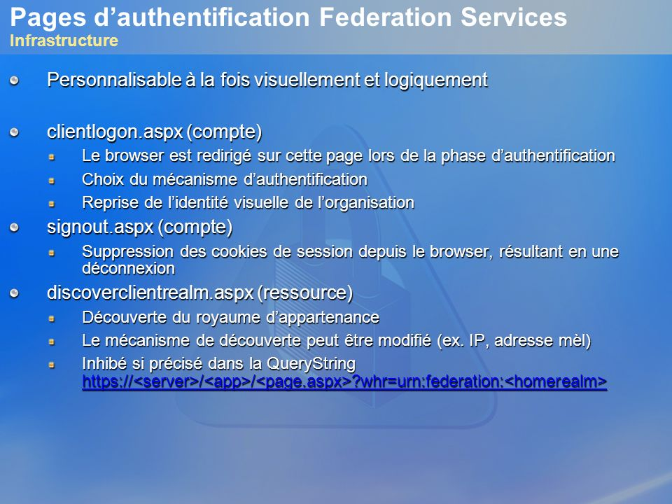 Pages d'authentification Federation Services Infrastructure