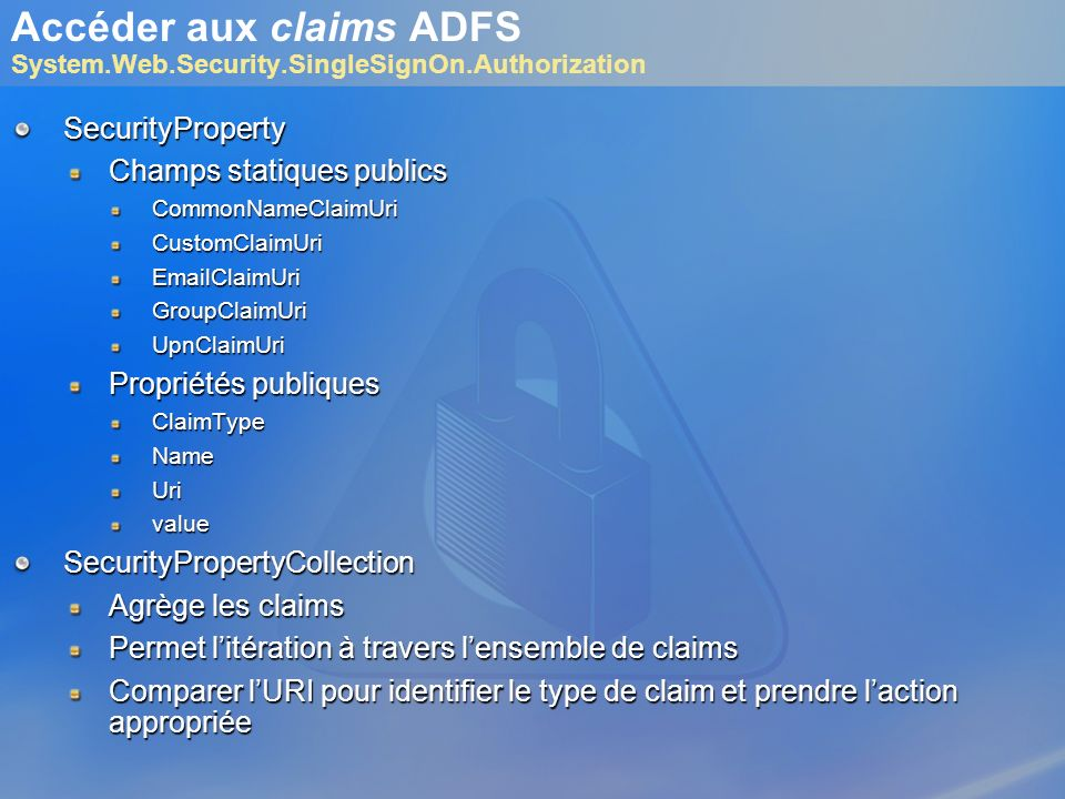 Accéder aux claims ADFS System.Web.Security.SingleSignOn.Authorization