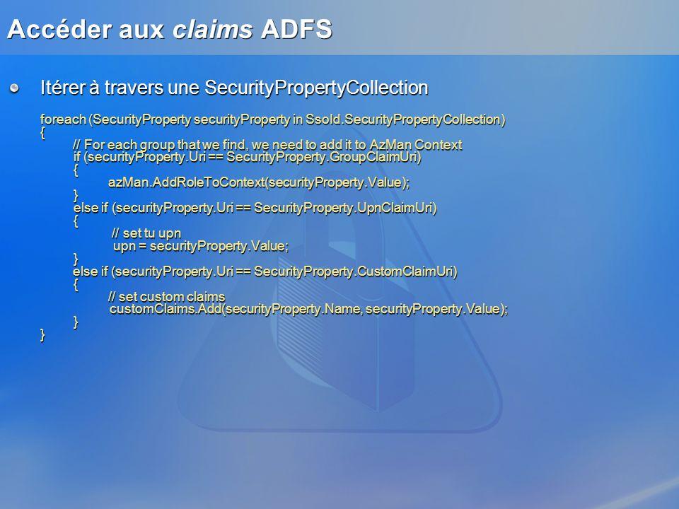 Accéder aux claims ADFS