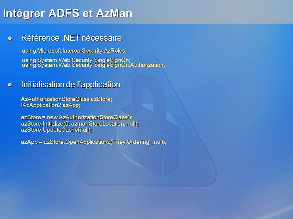 Intégrer ADFS et AzMan Référence .NET nécessaire