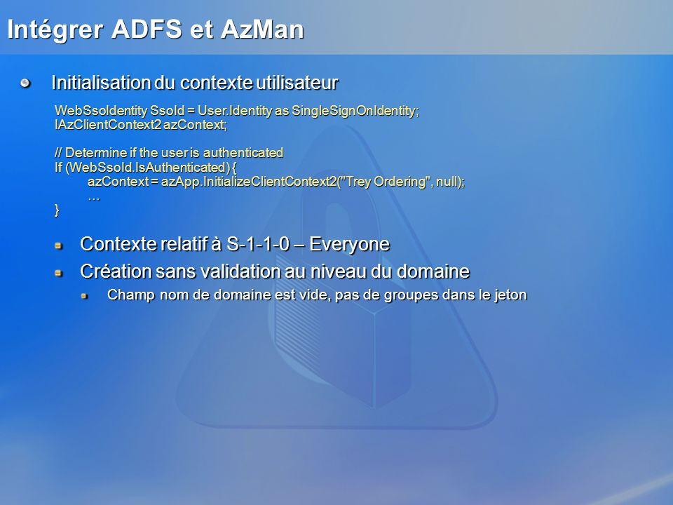 Intégrer ADFS et AzMan Initialisation du contexte utilisateur