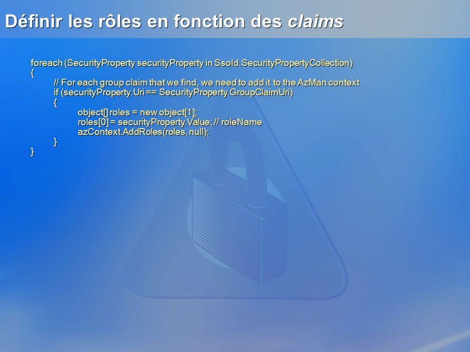 Définir les rôles en fonction des claims