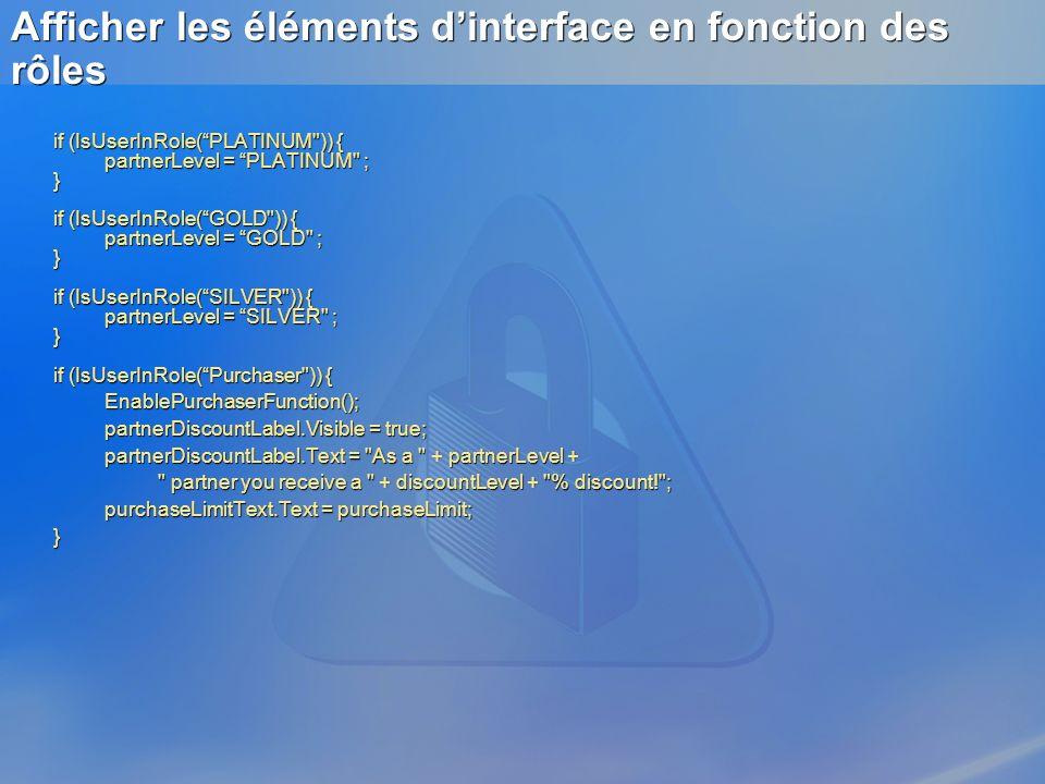 Afficher les éléments d'interface en fonction des rôles