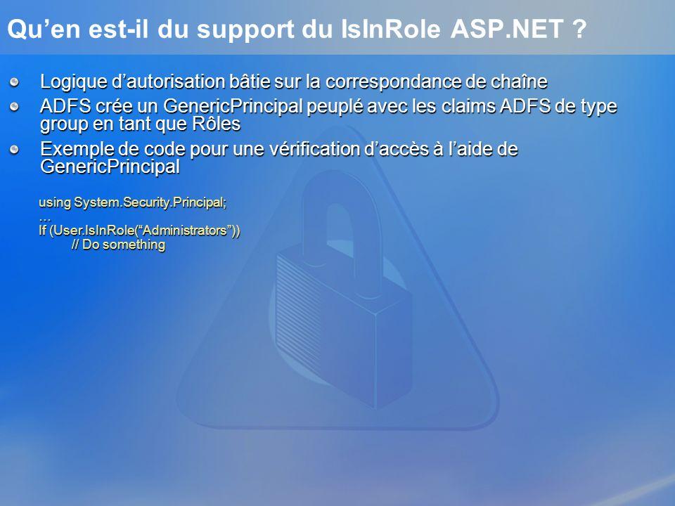 Qu'en est-il du support du IsInRole ASP.NET