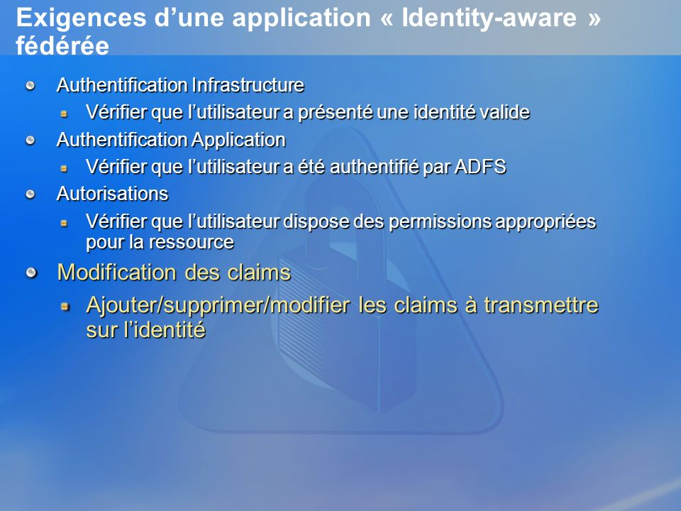 Exigences d'une application « Identity-aware » fédérée