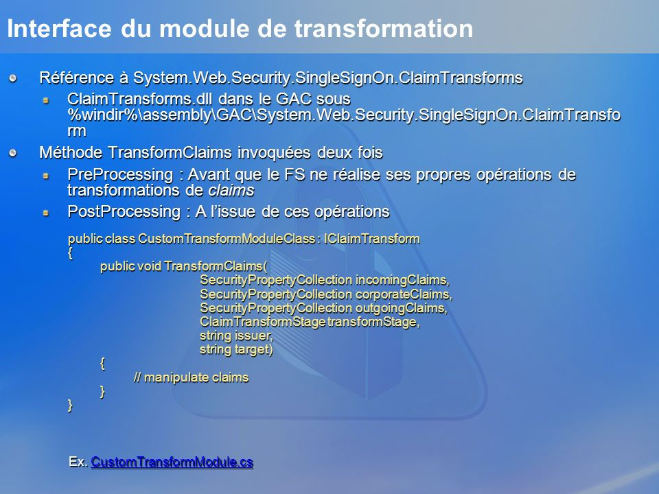 Interface du module de transformation