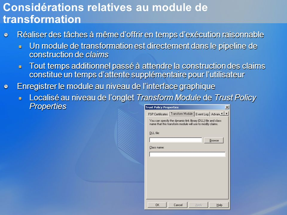 Considérations relatives au module de transformation