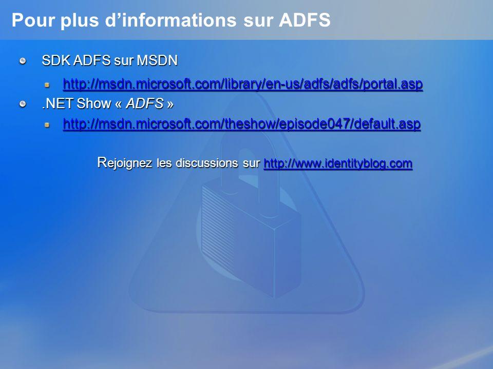 Pour plus d'informations sur ADFS