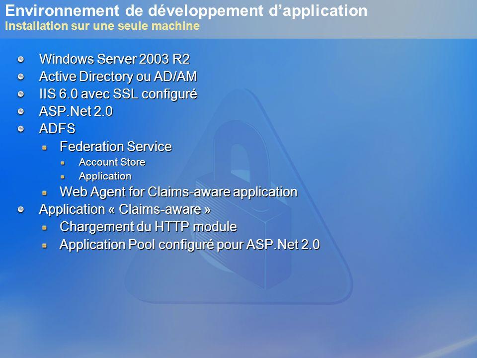 Environnement de développement d'application Installation sur une seule machine