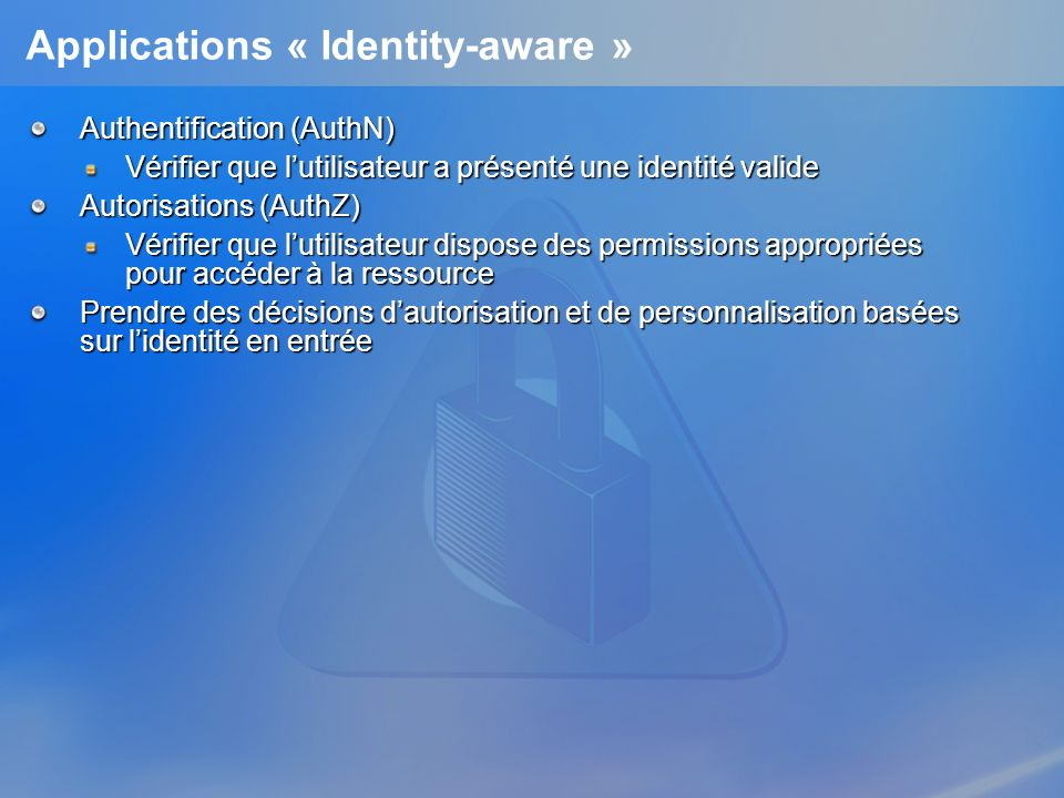 Applications « Identity-aware »