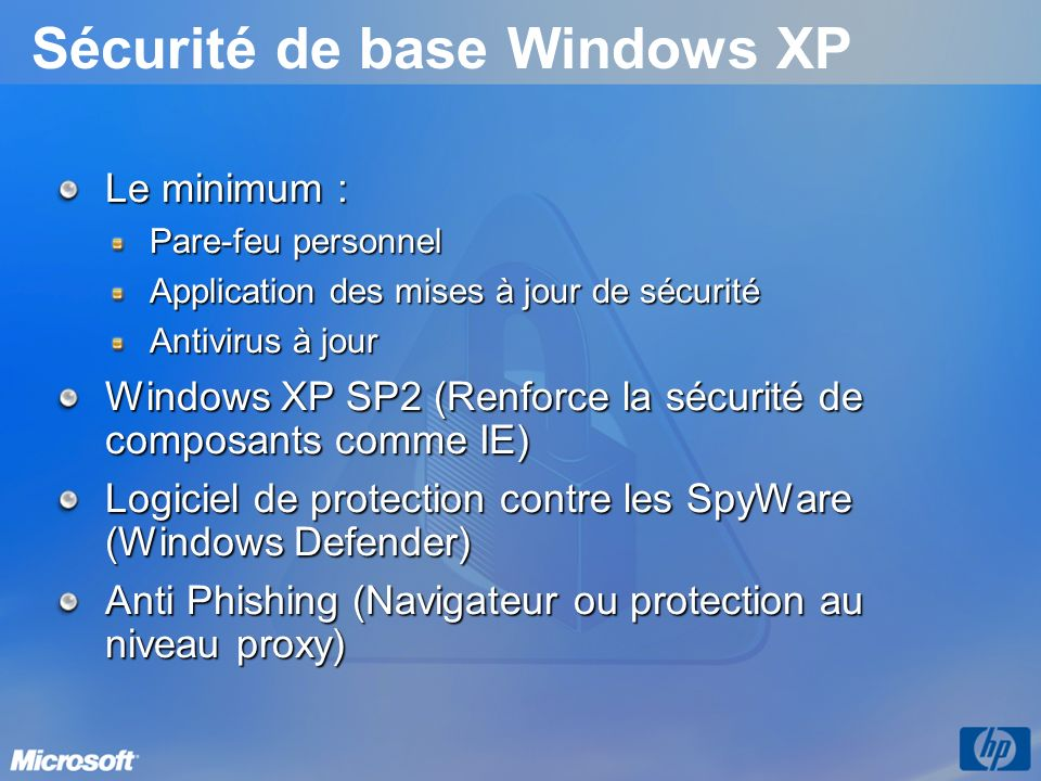 Sécurité de base Windows XP