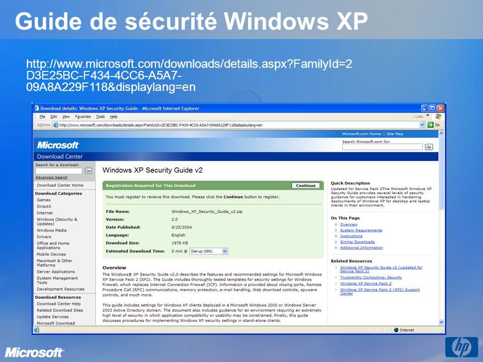 Guide de sécurité Windows XP