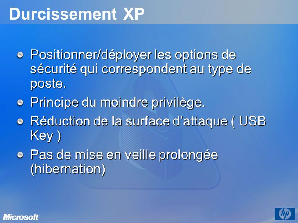 3/26/2017 3:56 PM Durcissement XP. Positionner/déployer les options de sécurité qui correspondent au type de poste.