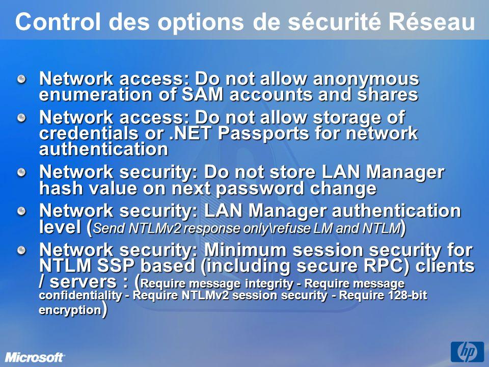 Control des options de sécurité Réseau