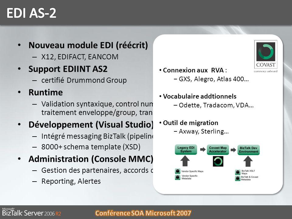 EDI AS-2 Nouveau module EDI (réécrit) Support EDIINT AS2 Runtime