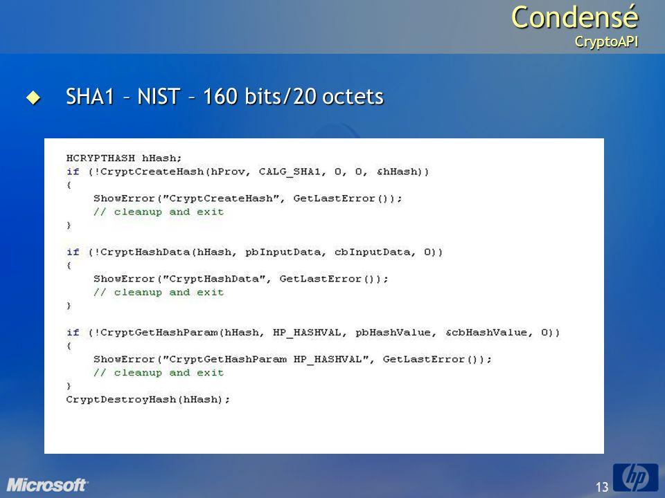 Condensé CryptoAPI SHA1 – NIST – 160 bits/20 octets