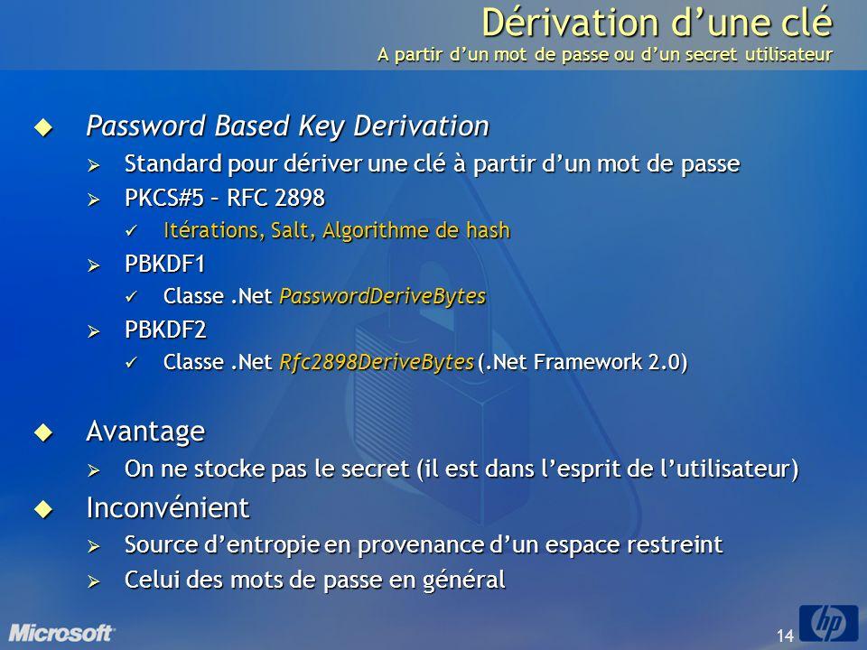 Dérivation d'une clé A partir d'un mot de passe ou d'un secret utilisateur
