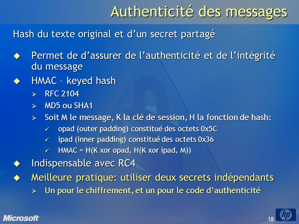 Authenticité des messages