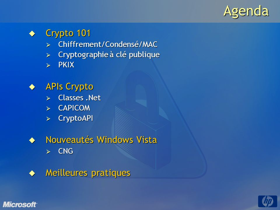 Agenda Crypto 101 APIs Crypto Nouveautés Windows Vista