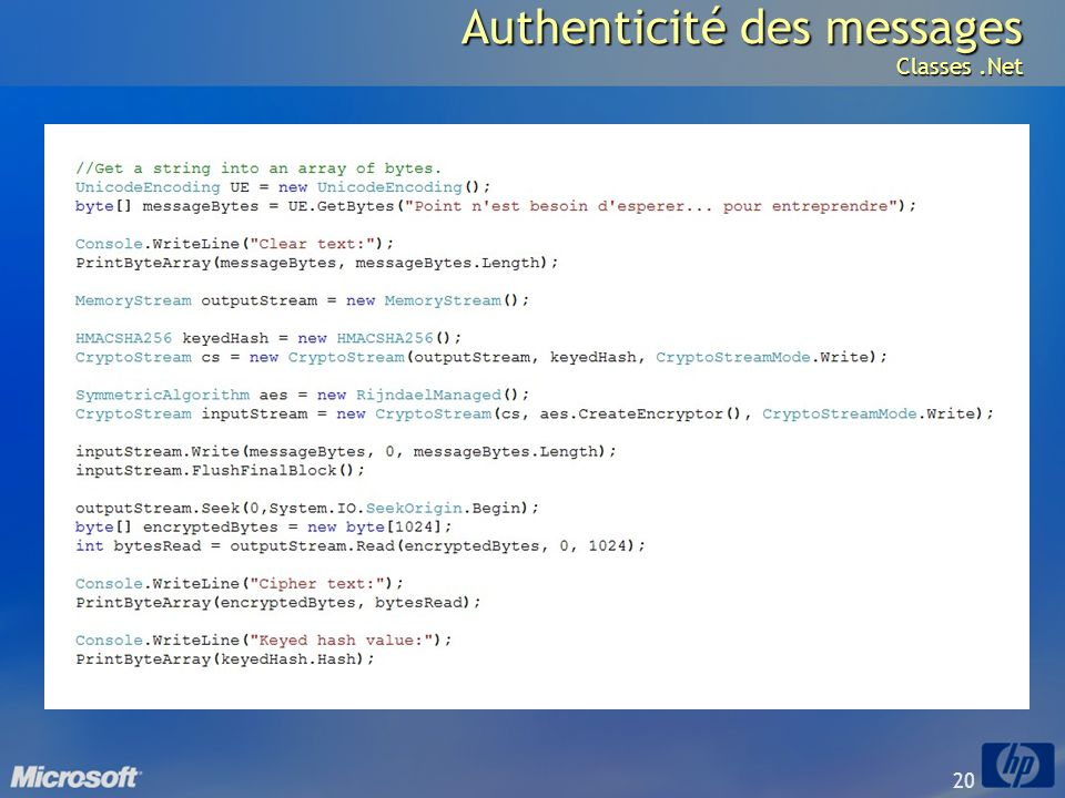 Authenticité des messages Classes .Net