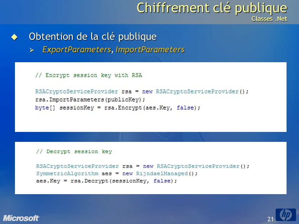 Chiffrement clé publique Classes .Net