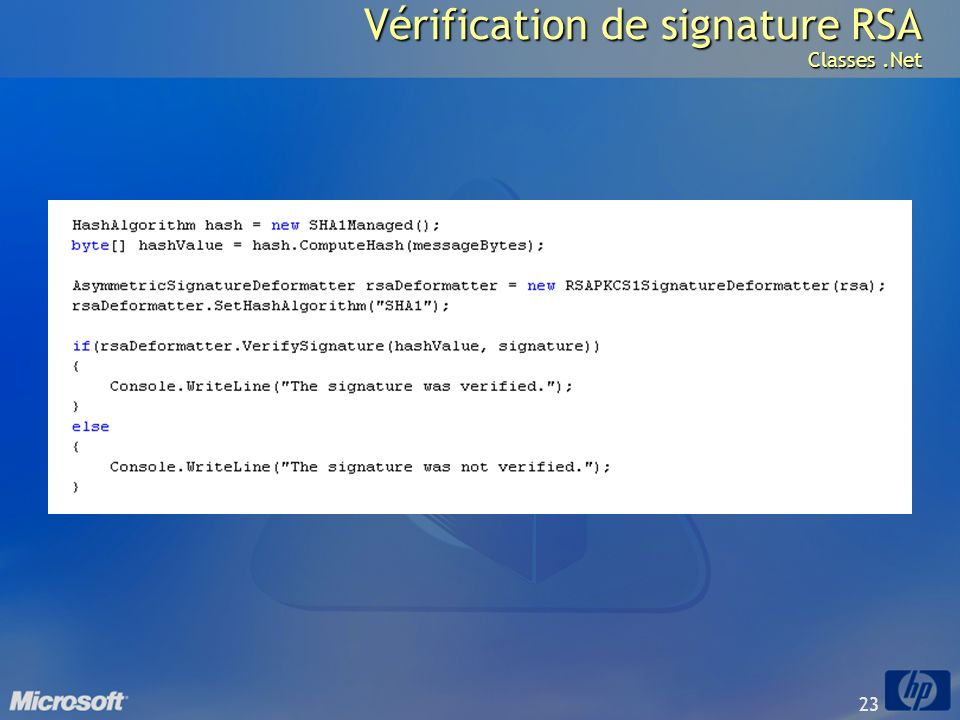 Vérification de signature RSA Classes .Net
