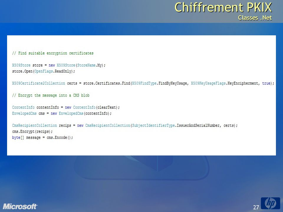 Chiffrement PKIX Classes .Net