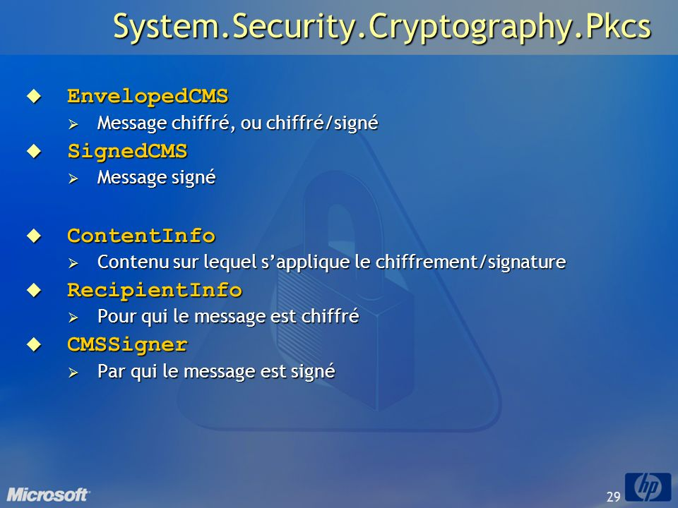 System.Security.Cryptography.Pkcs EnvelopedCMS SignedCMS ContentInfo