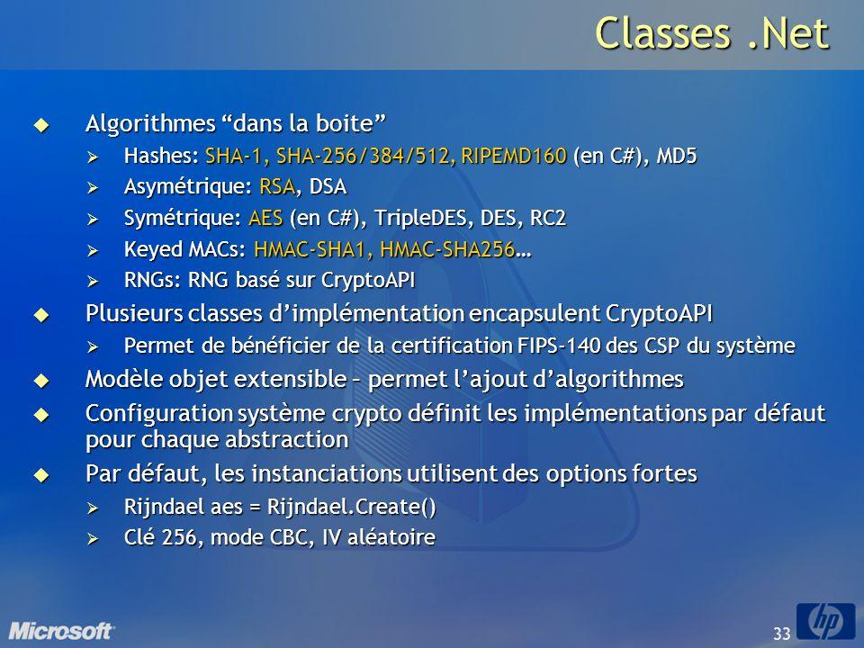 Classes .Net Algorithmes dans la boite
