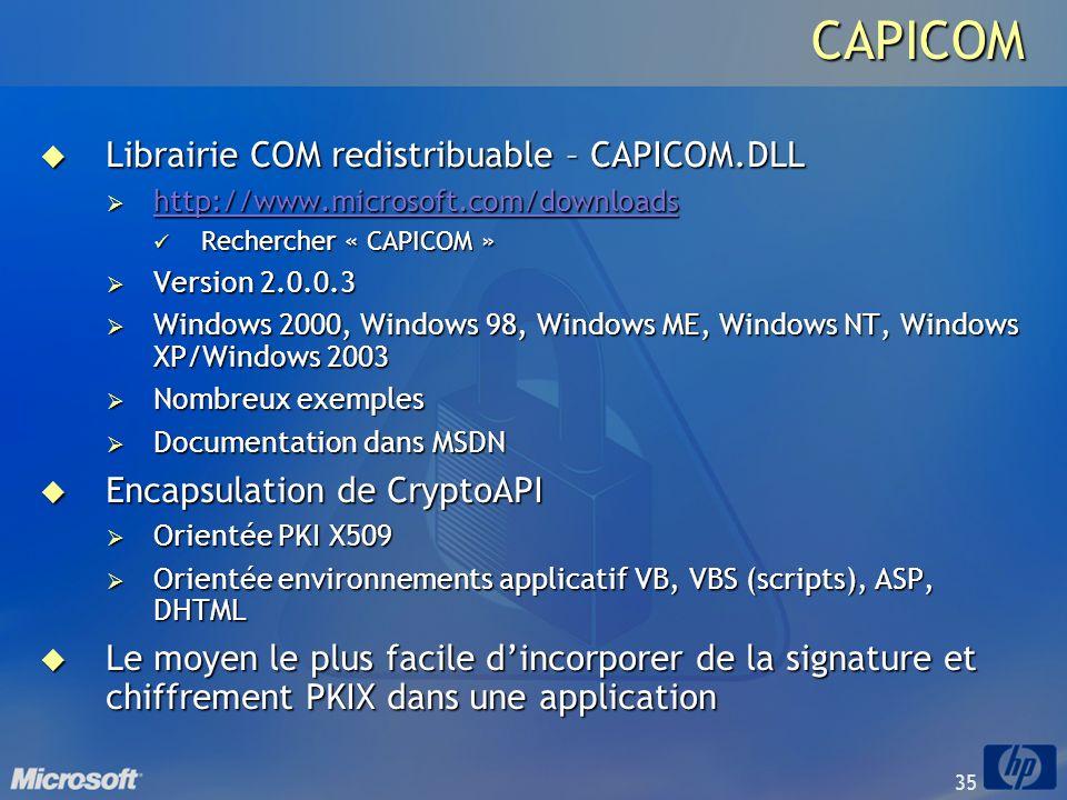 CAPICOM Librairie COM redistribuable – CAPICOM.DLL