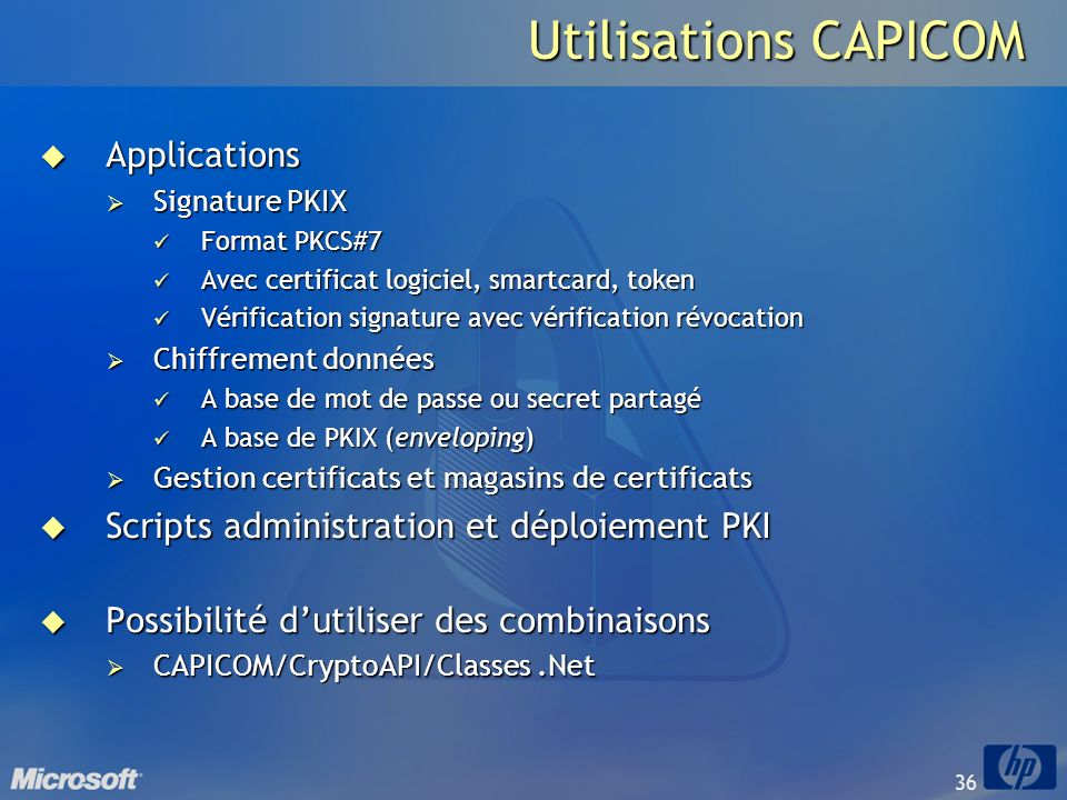 Utilisations CAPICOM Applications