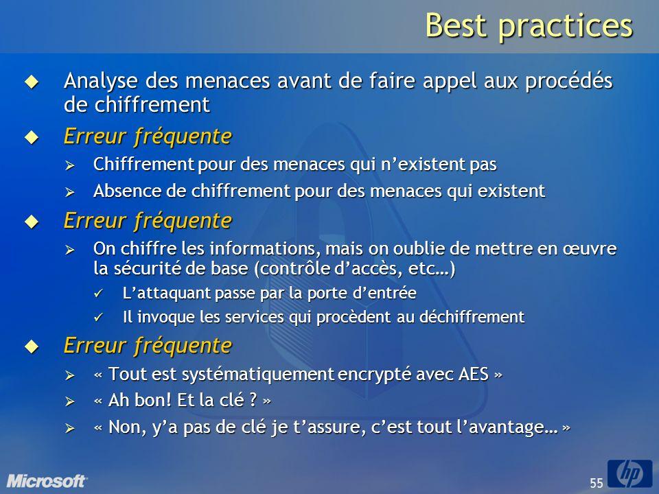 Best practices Analyse des menaces avant de faire appel aux procédés de chiffrement. Erreur fréquente.