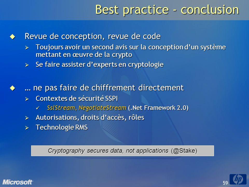 Best practice - conclusion