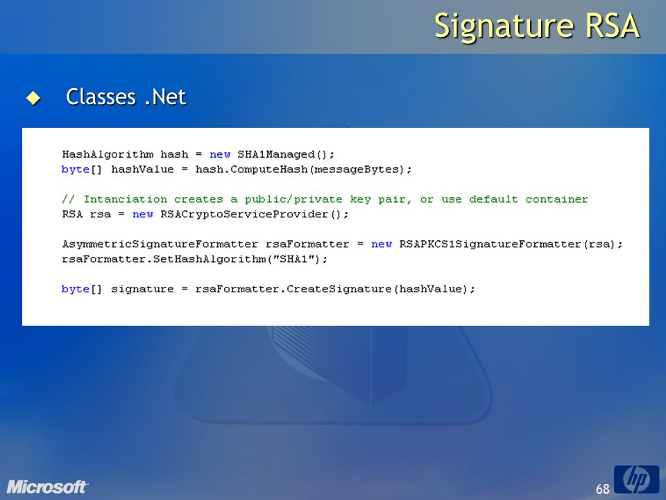 Signature RSA Classes .Net