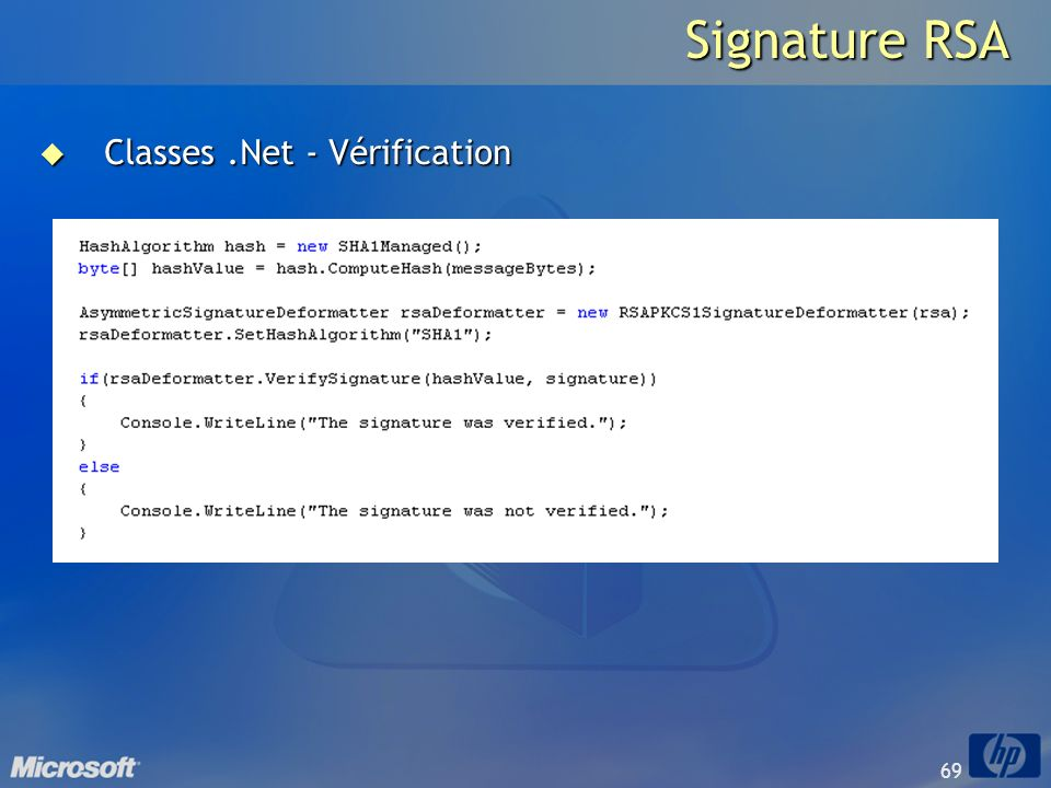 Signature RSA Classes .Net - Vérification