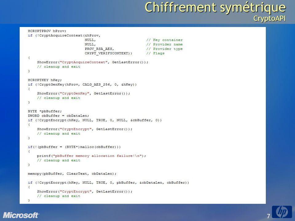 Chiffrement symétrique CryptoAPI