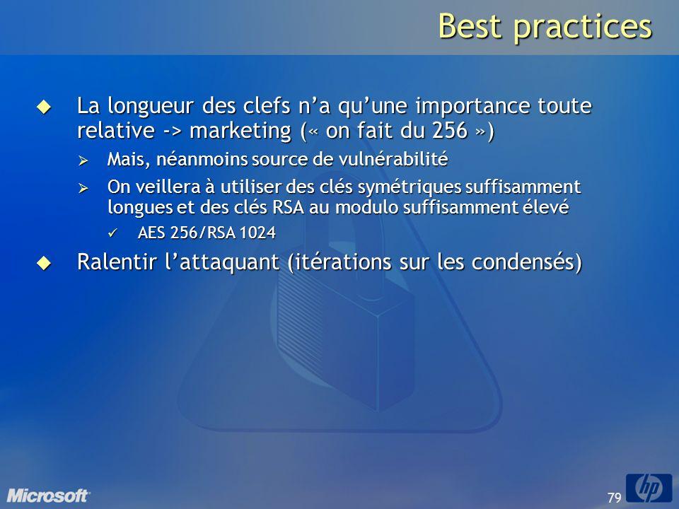 Best practices La longueur des clefs n'a qu'une importance toute relative -> marketing (« on fait du 256 »)