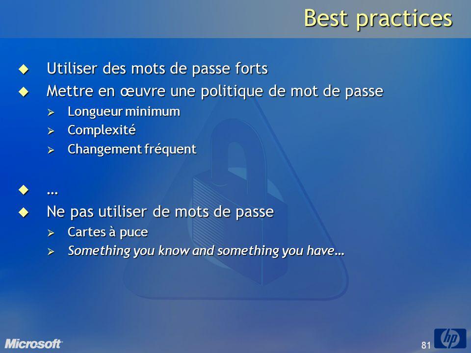 Best practices Utiliser des mots de passe forts
