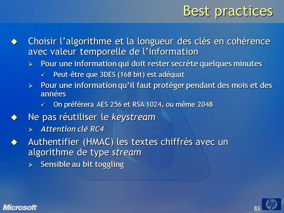 Best practices Choisir l'algorithme et la longueur des clés en cohérence avec valeur temporelle de l'information.