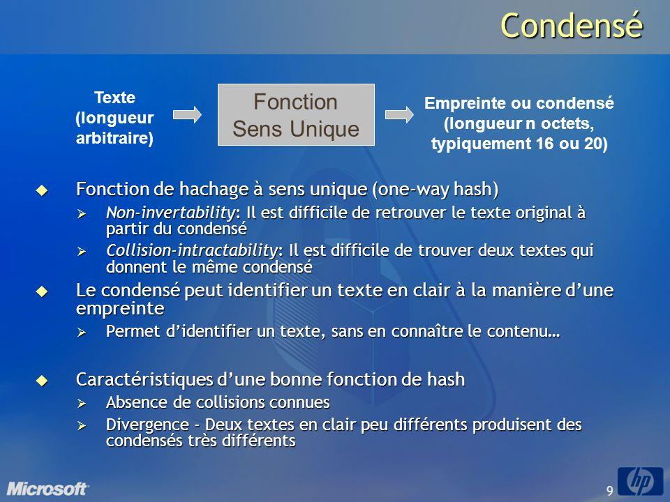 Condensé Fonction Sens Unique