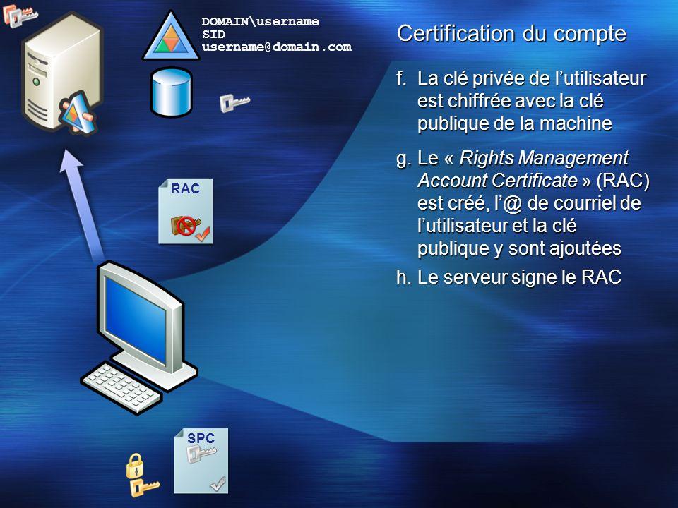 Certification du compte
