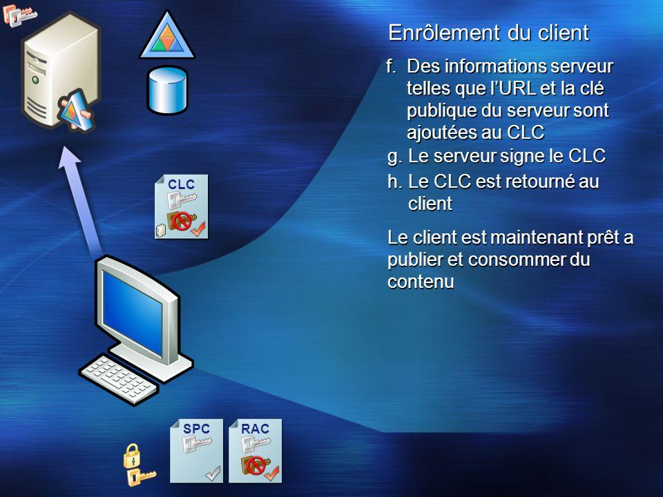 17/3/26 15時56分 Enrôlement du client. Des informations serveur telles que l'URL et la clé publique du serveur sont ajoutées au CLC.