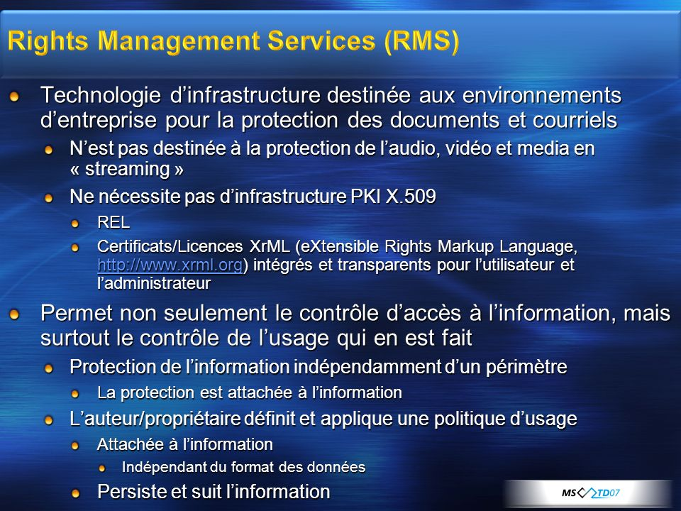 Rights Management Services (RMS)