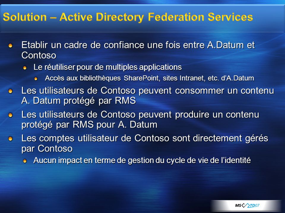 Solution – Active Directory Federation Services