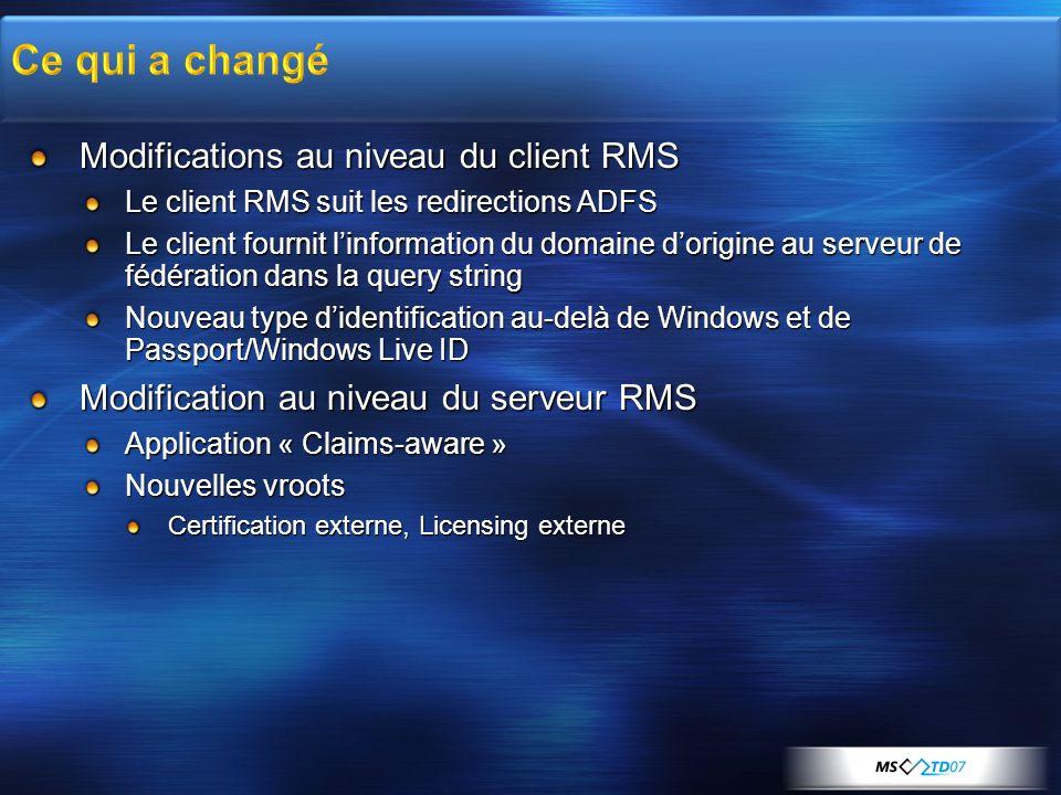Ce qui a changé Modifications au niveau du client RMS