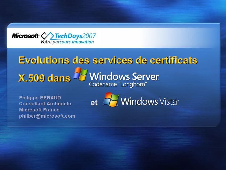 Evolutions des services de certificats X.509 dans