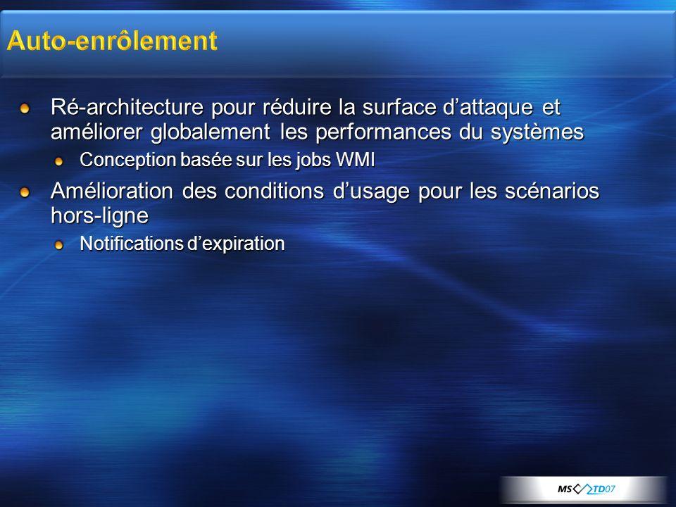 Auto-enrôlement Ré-architecture pour réduire la surface d'attaque et améliorer globalement les performances du systèmes.