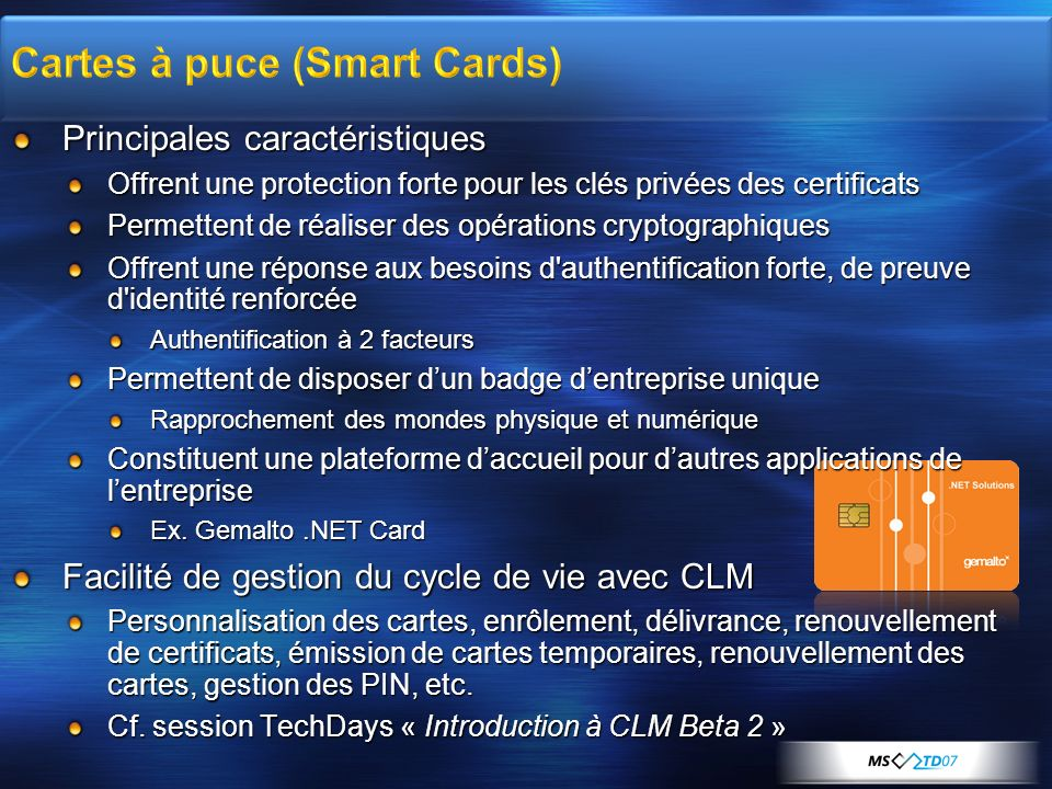 Cartes à puce (Smart Cards)