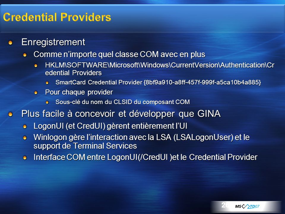 Credential Providers Enregistrement
