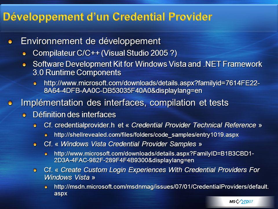 Développement d'un Credential Provider